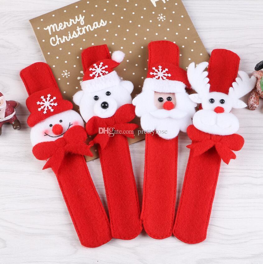 Рождество поглаживание круг браслет украшения партии безделушки Санта-Клаус Лось Новый год подарок для детей 2020 творческий браслет смешанные цвета