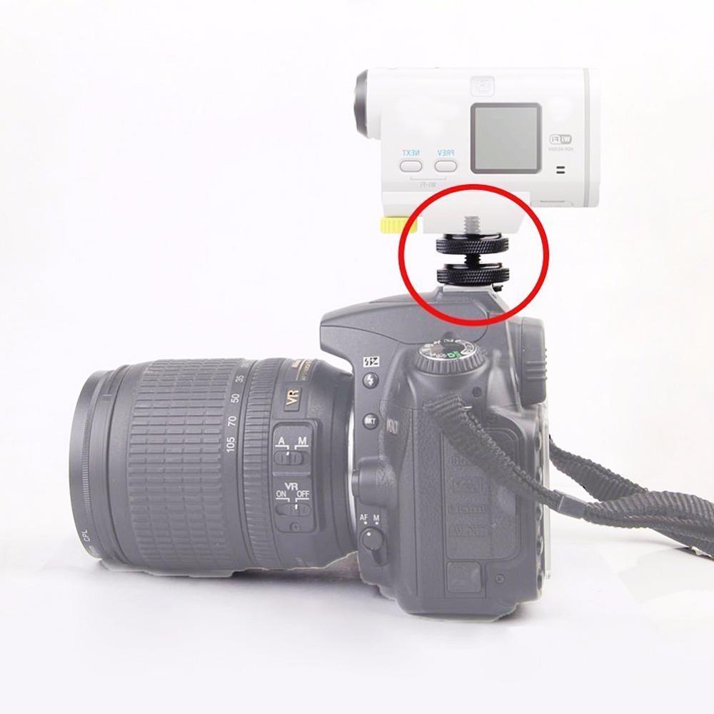 """Cámara Digital Tornillo para montaje en Flash 1//4/"""" Tuercas De Doble Zapata Adaptador para Trípod DSLR"""