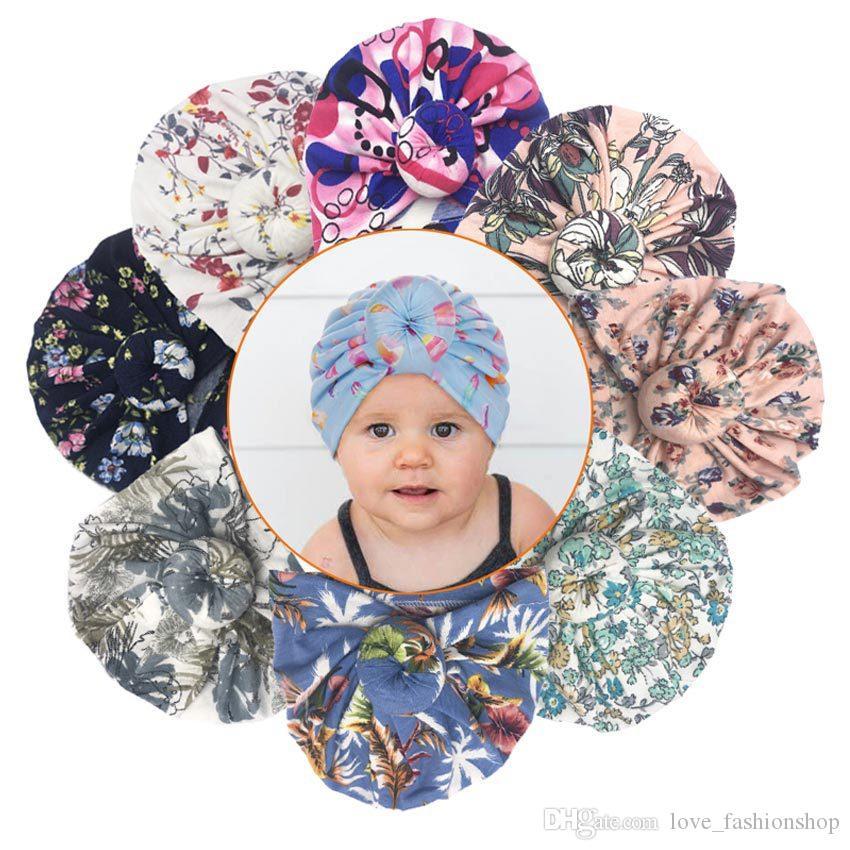 5pcs 8 Couleurs Baby Donut Chapeau Enfants Imprimé Casque noué Chapeaux Nouveau-né Caps Caps Pullover Enfants Boutique Accessoires pour cheveux