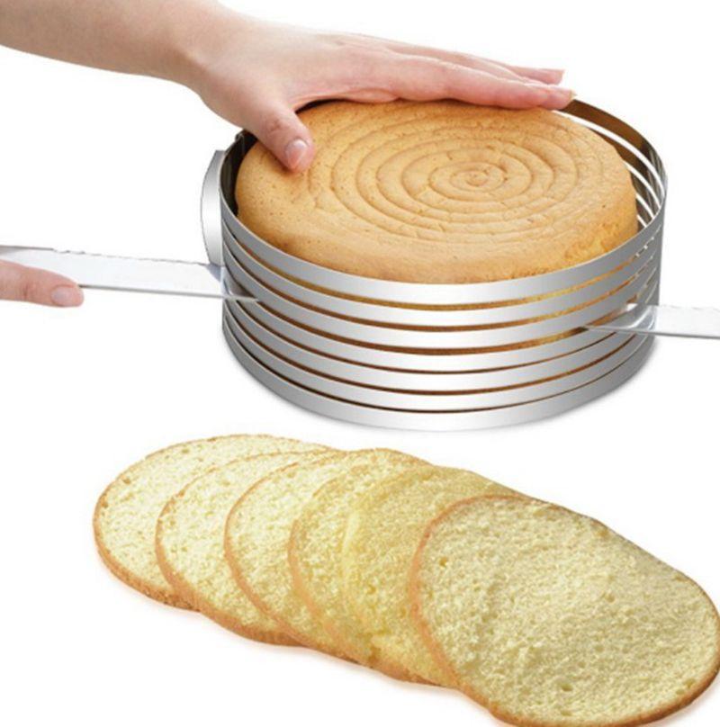 الفولاذ المقاوم للصدأ كعكة القاطع القطاعة للتعديل جولة الطبقات الخبز كعكة القاطع القطاعة كعكة العفن diy الخبز أدوات المطبخ Accessoires LQPYW935