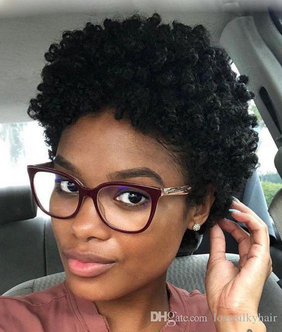 YENI güzel brezilyalı Saç kısa kıvırcık peruk Afrika Ameri Simülasyon İnsan saç kısa sapıkça kıvırcık peruk