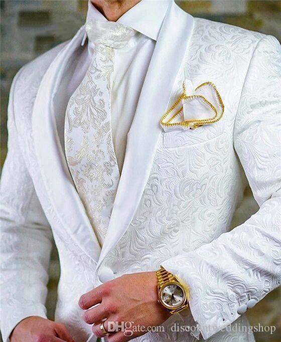 Ultimo disegno laterale Vent Bianco Paisley scialle risvolto nozze smoking dello sposo uomini di partito Suits Trouses Coat Set (Jacket + Pants + Tie) K 82