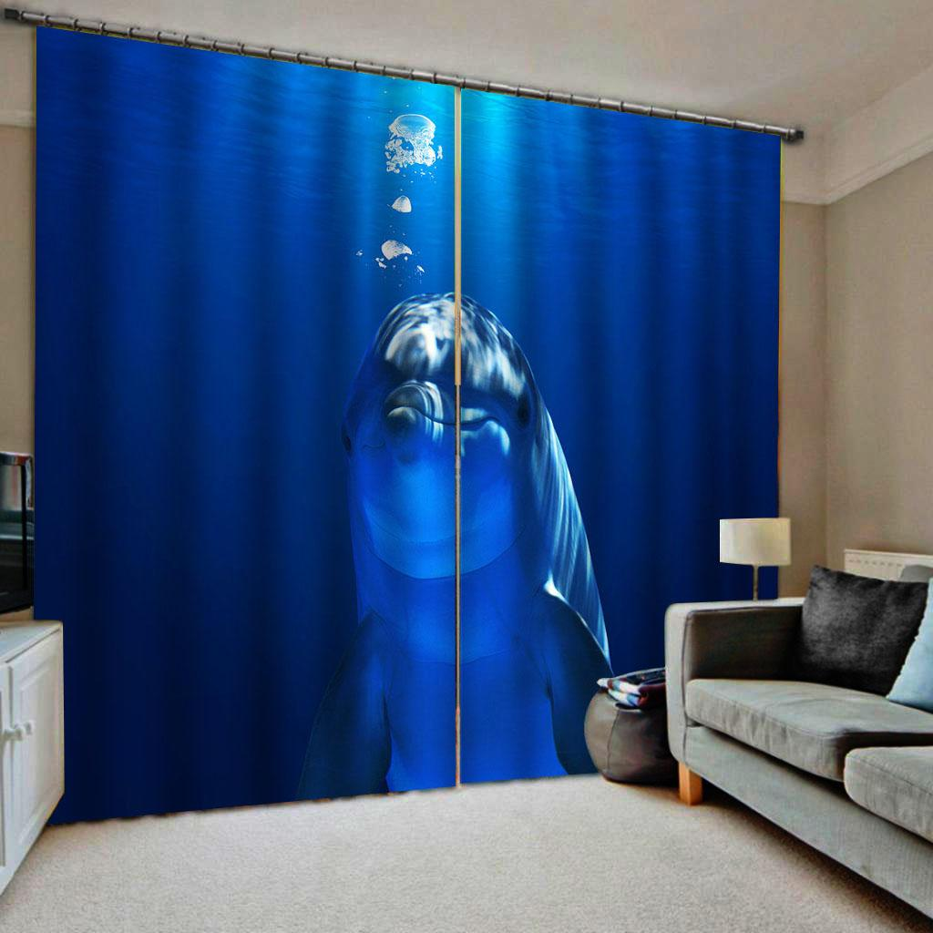 3D Waterfall Ocean Window Mural Printing Curtains Blockout Drapes Fabric 2 Panel