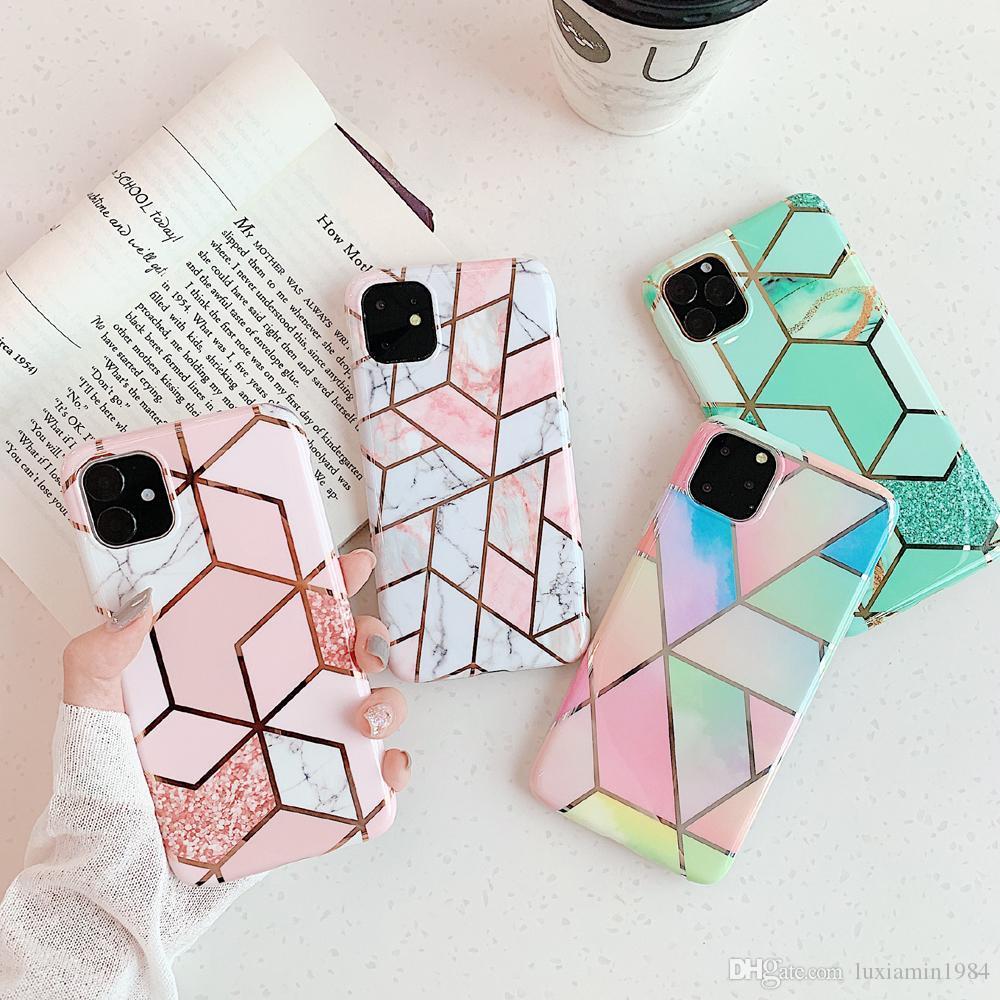 mármol brillante geométrica electrolíticos casos para el iPhone 11 11Pro Max X XR XS Max 6 7 8 6S La caja del teléfono Plus suave de la contraportada