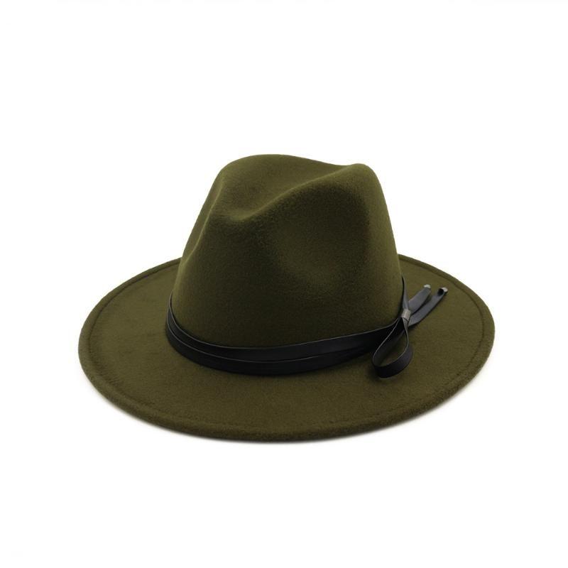 2020 Hot Autumn Winter Sun Hat Women Men Fedora Hat Classical Wide Brim Felt Floppy Cap Chapeau Imitation Wool Cap HF127