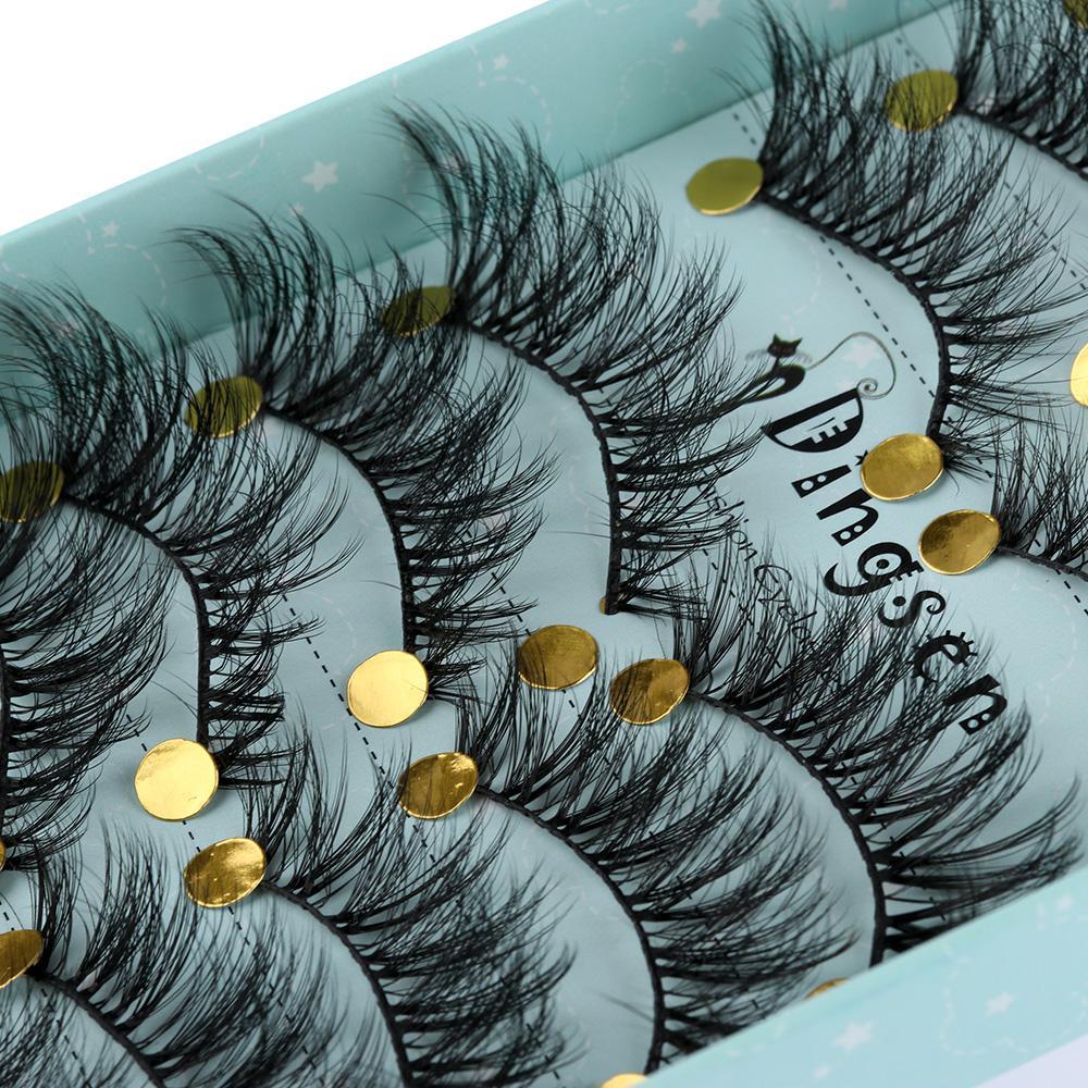 10 Pairs 3D Soft Faux Mink Hair False Eyelashes Natural Messy Eyelash Crisscross Wispy Fluffy Lashes Extension Eye  Tools
