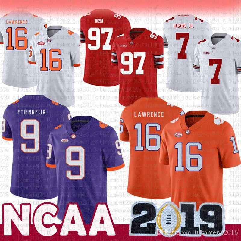 16 Travor Lawrence 9 Travis Etienne Jr. Clemson Tigers NCAA Tom Brady Jersey 97 Nick Bosa 7 Dwayne Haskins JR Ohio State Buckeyes