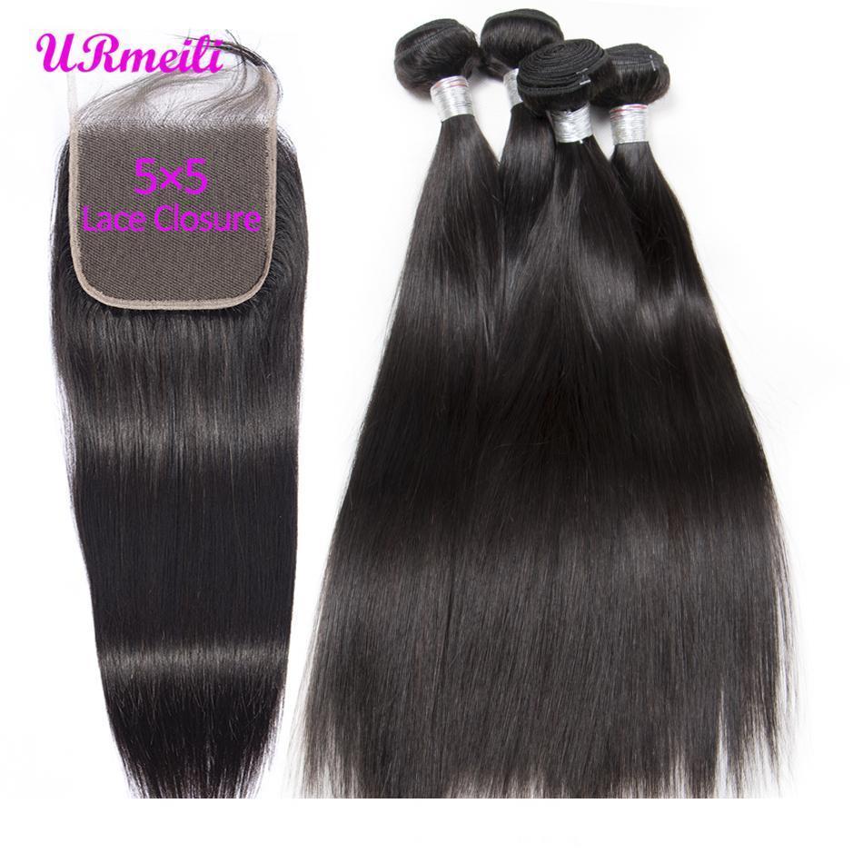 Düz Saç Paketler 5x5 Dantel Kapatma Brezilya Bakire Saç Dokuma 3 4 Paketler ile Kapatma Doğal Siyah Remy Saç Uzatma ile