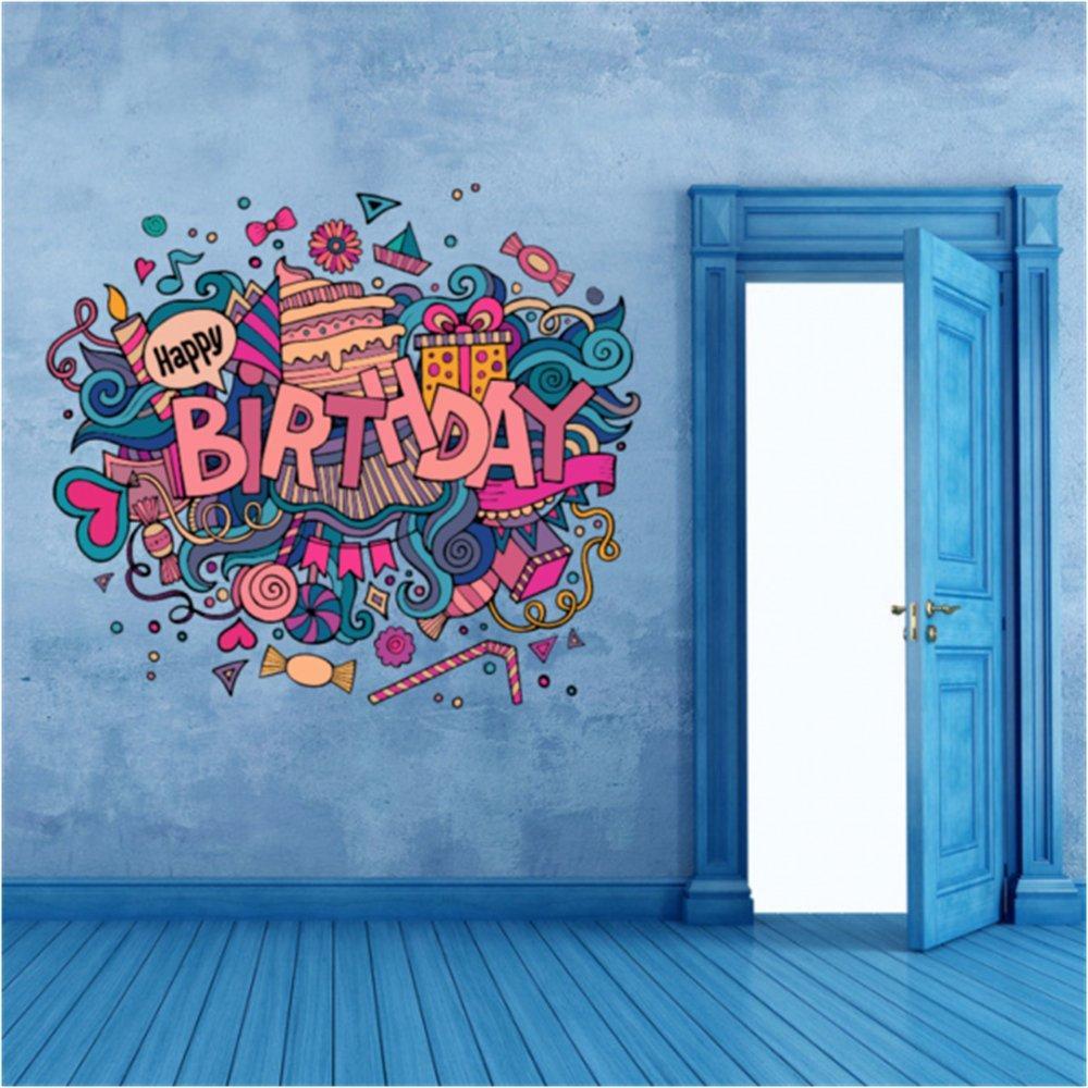 Mutlu Doğum Günü Illüstrasyon Moda Düğün Dekor Vinil Su Geçirmez Duvar Sticker Yatak Odası Duvar Kağıdı Duvar Çıkartması Bebek Odaları Dekor