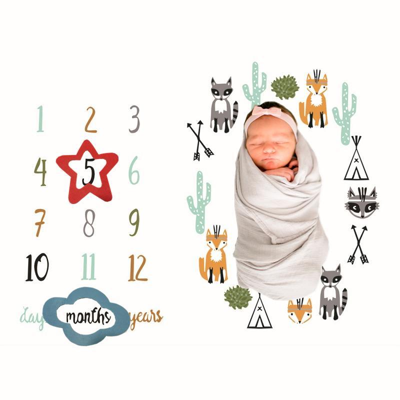Nouveau-né bébé Couverture Manta tapis de jeu photo Couvertures Photographie Calendrier Bébé cheveux Bow Milestone fond photo Accessoires