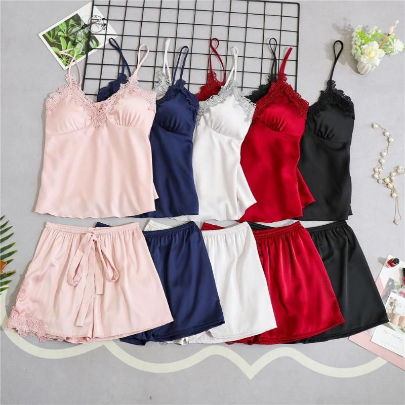 Strap Pajamas Women Summer Sexy Ice Silk Shorts Two-Piece Set With Chest Pad Can Wear Outside Suit Silk Intimate Lingerie Fwadc