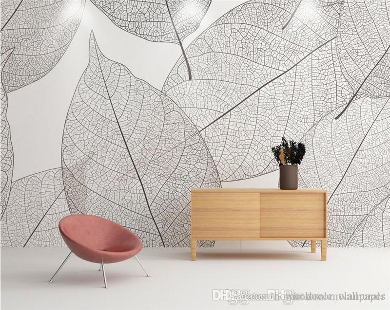 Custom 3d Photo Wallpaper Murals Modern Minimalist Leaves Nature Wall Murals Mural for Living Room Bedroom Restaurant Decoration