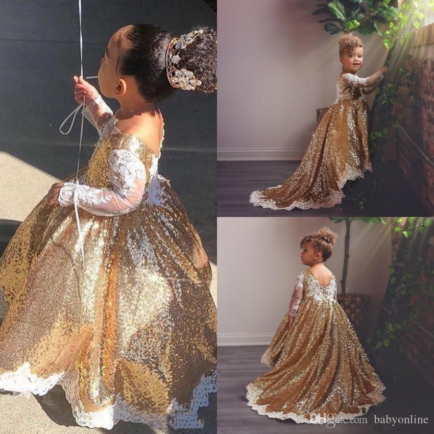 Compre Vestido Reflectante De Lentejuelas Dorado Vestido De Fiesta Para Niñas Vestido De Encaje De Apliques De Encaje Formal Vestido De Niña De Flores