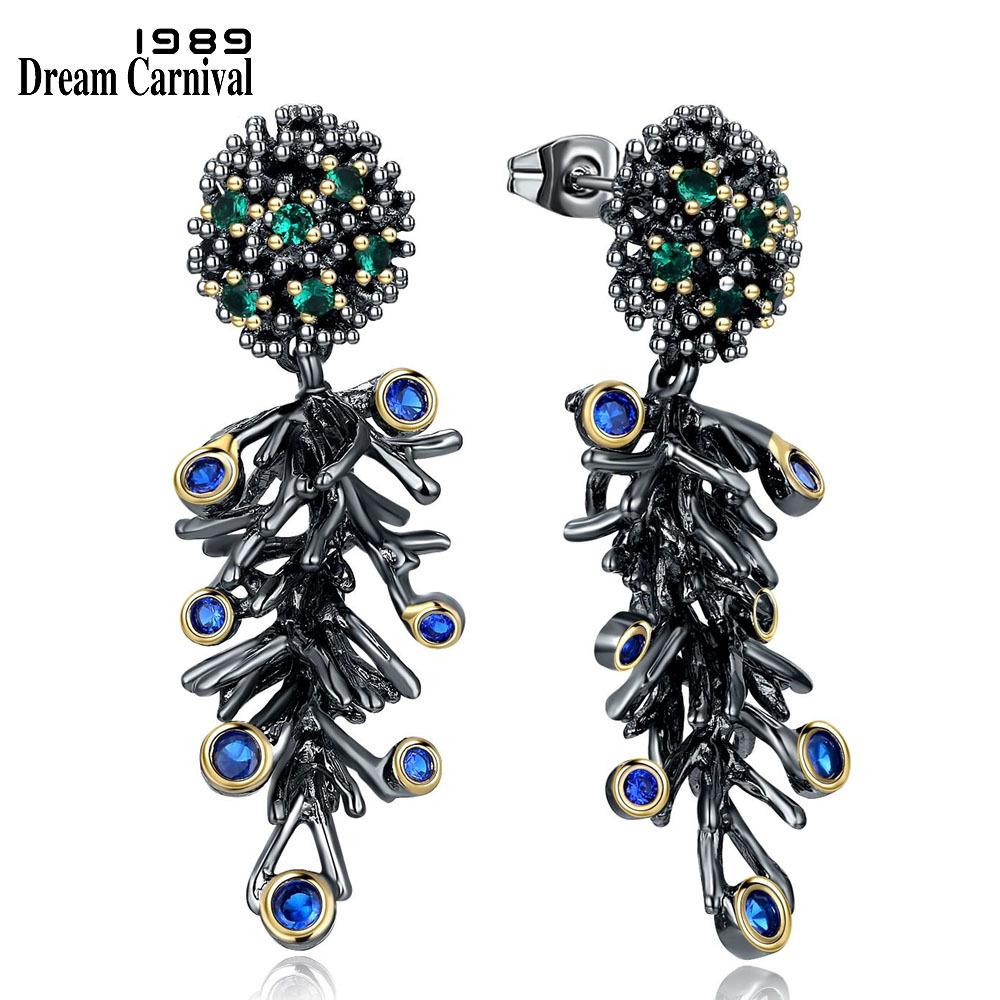 Dreamcarnival 1989 Gothic Vintage Black Gold Color Branch Dangle Earrings For Women Green Blue Cubic Zirconia Jewelry We3786 J190630