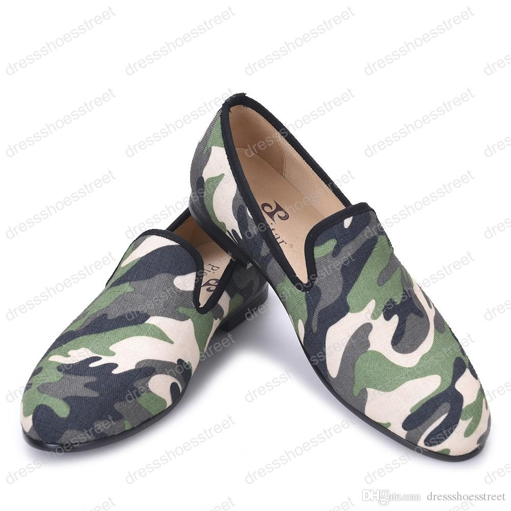 British classic-traditional loafers and military motif Camo print with leather insole men Dress canvas casual shoes