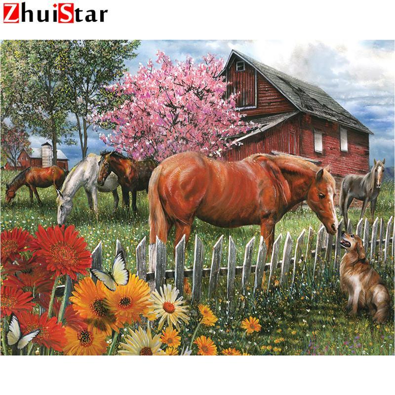 5D DIY الماس اللوحة كاملة مربع عبر ساحة غرزة مطعمة مزرعة التطريز الحصان بيع حجر الراين اللوحة الاكسسوارات WHH