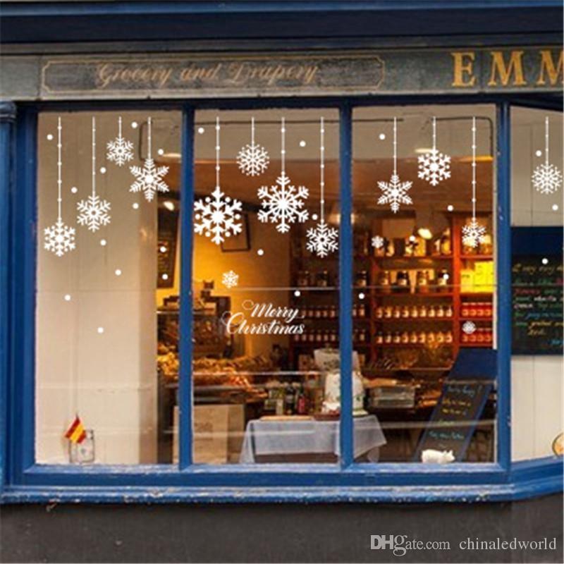 Parede de suspensão de neve de Natal colada quarto loja janela vidro floco de neve fundo