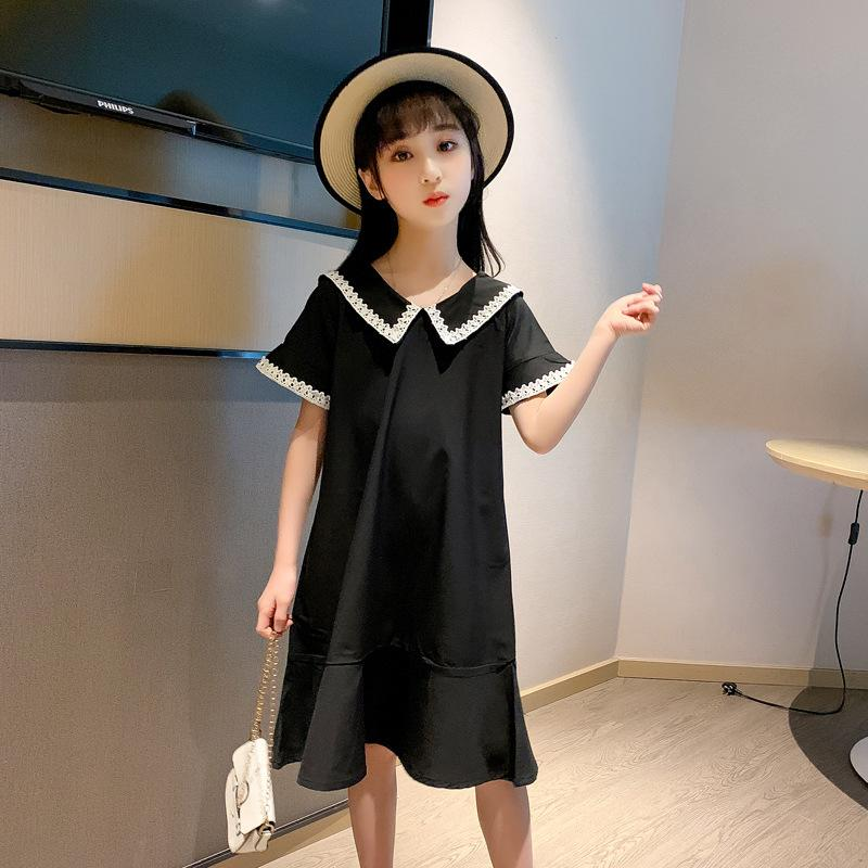 الفتيات الكبيرات يرتدين فستان مراهقات أسود في صيف 2020 للفتيات ذوات الكم القصير