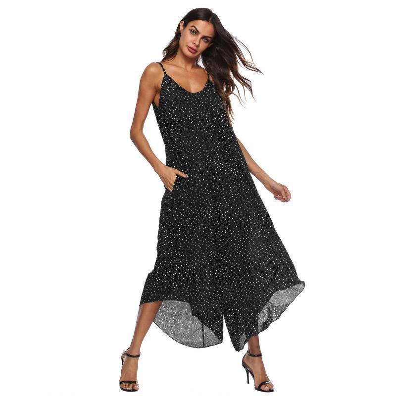 Sexy Sling Dot Plus Size Chiffon Wide Leg Jumpsuits 2019 woman New Fashion Summer V Collar Open-back Casual Loose Long Jumpsuit
