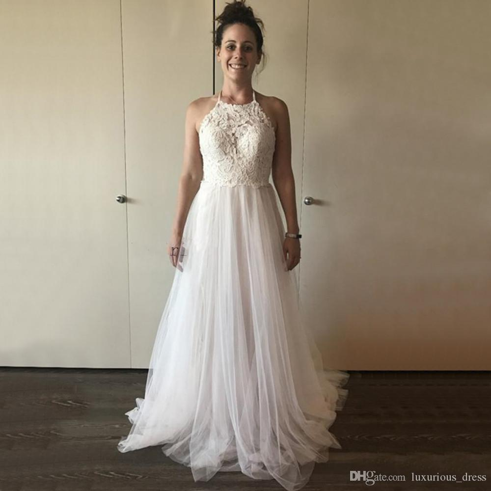 Discount Backless Tulle Wedding Dresses 2019 New Halter A Line Lace Top Sexy Bridal Dress Custom Made Simple Wedding Party Gowns Cheap Long Sleeved