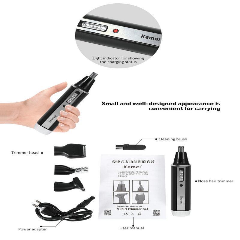 KM-6630 4 en 1 Herramientas mejor recortador de pelo de nariz recargable Trimmer máquina de afeitar del templo de los varones de cuidado personal SZsAq