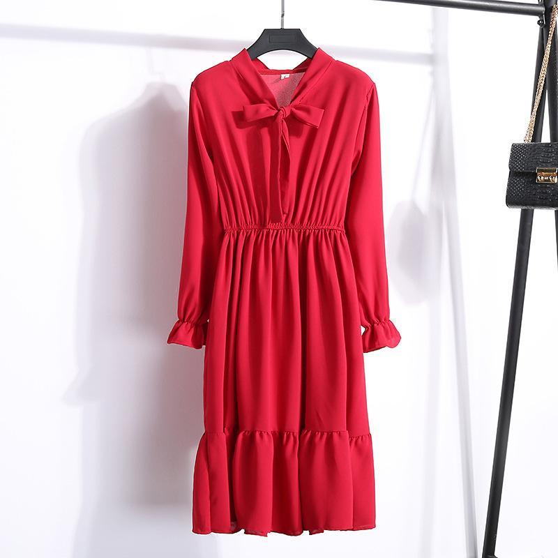 여자 우연한 시퐁 셔츠 복장 숙녀 한국 작풍 꽃무늬 포도 수확 사무실 셔츠 복장 긴 소매 활 미디 복장 Vestido