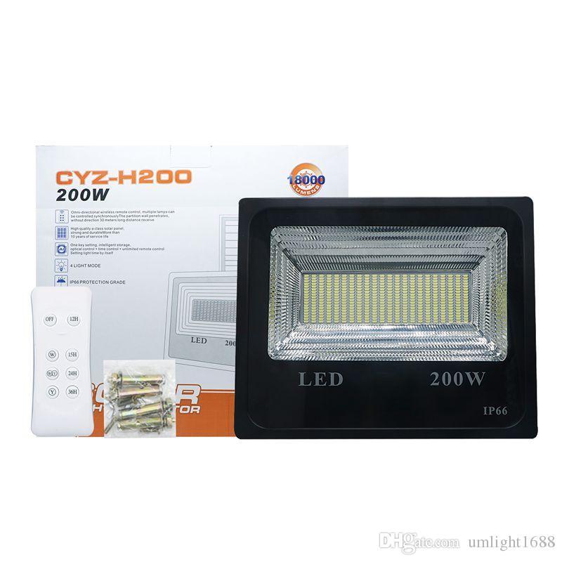 Umlight1688 200 와트 태양 홍수 빛 더블 컬러 태양 전원 홍수 빛 정원 경로 거리 스포트라이트 방수 램프 원격 제어