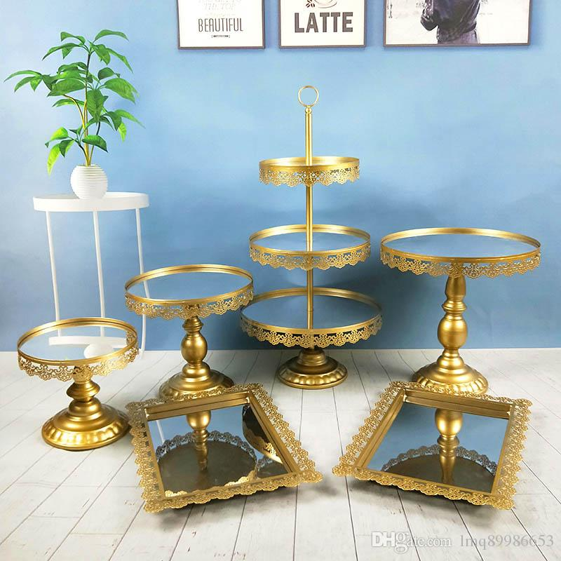 6 pcs Gold Dessert Acrylic Mirror Tray Cupcake Pan Cake Display Table Decoration Wedding Party Supply Cake Stand