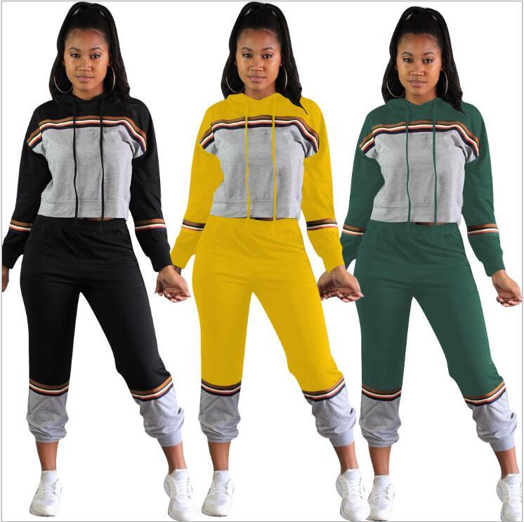 Womens New Hooded Suit Two-piece European and American Sports Leisure Suit College Wind 2020 Autumn 2 Style Sportswear Tracksuit