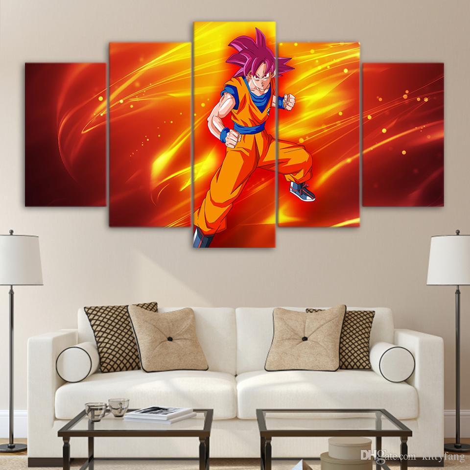 HD Print 5 Piece Canvas Art Dragon Ball Goku Super Saiyan Burning Wall Pictures For Living Room Posters