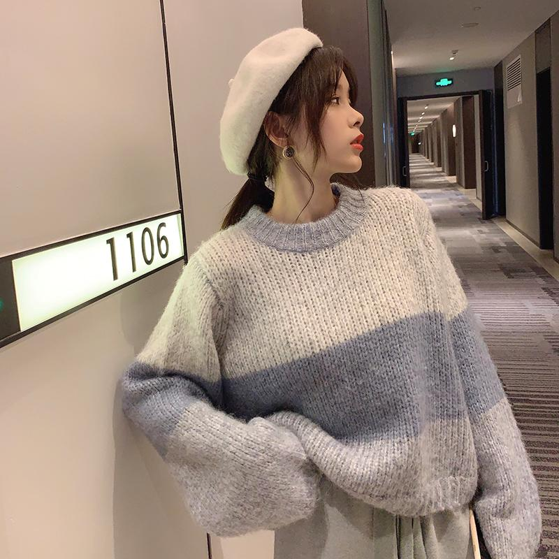 Stripe Inverno MiShow Grosso Knit Sweater Mulheres Causal torno do pescoço solto manga comprida Knit Pullover Tops MX19D5627