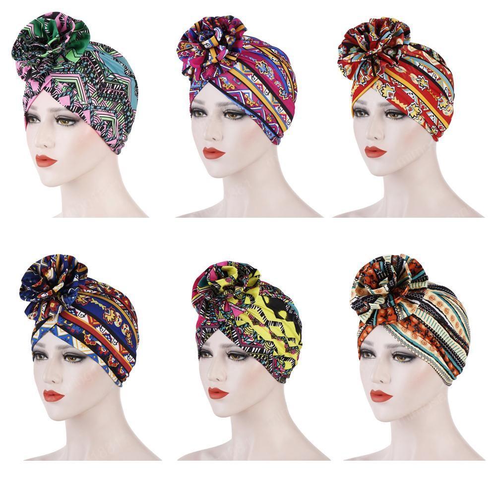 Muslim Women Flower Cancer Chemo Cap Hair Loss Head Scarf Turban Hat Head Wrap Printed Islam India Hat Elastic Cap Fashion