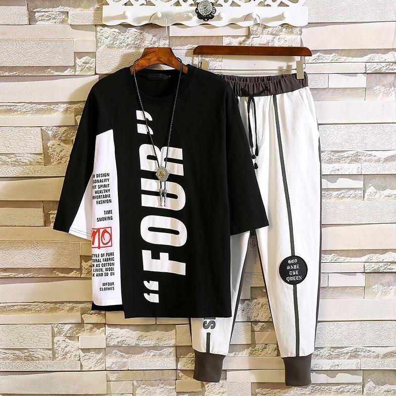 top e pantaloni della tuta a due pezzi hanno regolato i vestiti mens jogger Abbigliamento maschile 2020 uomini di estate vestito coulisse set di prodotti abbinati