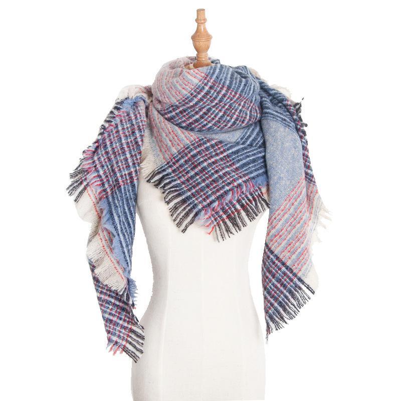 Европа 2019 новая зимняя пряжа петли увеличить шаль шарфы двухсторонний цвета плед шарф щетина мисс Fang Jin