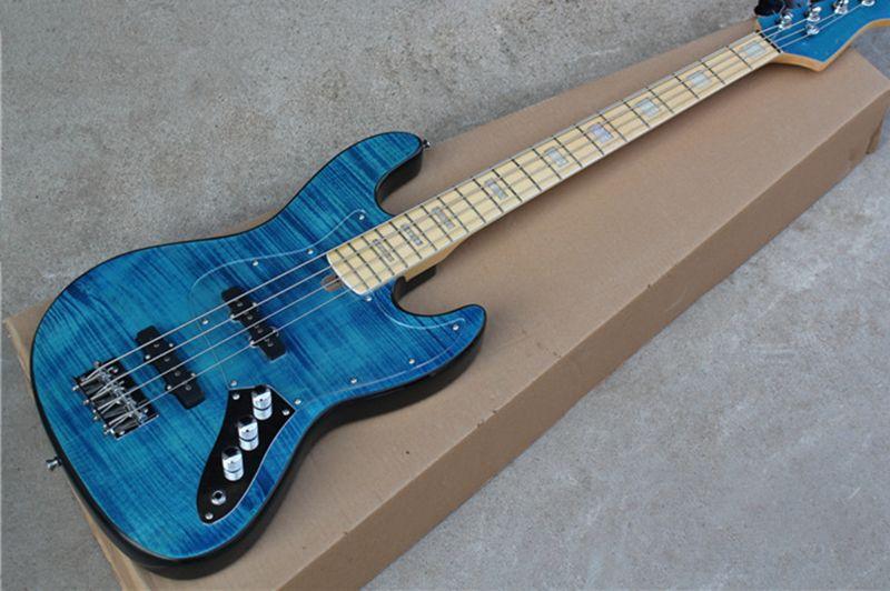 chitarra jazz bassi il trasporto libero, basso elettrico 4 corde, fiammato corpo impiallacciatura di acero, manico in acero, cromo hardware, basso blu, pickboard acrilico,
