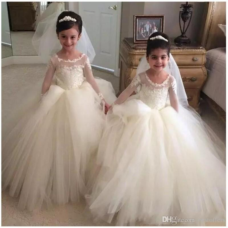 2019 New Jewel Ball Gown Lace Applique Tulle Cute Beautiful Long Sleeves Birthday Party Toddler Dresses Flower Girl Dresses Pageant Dress