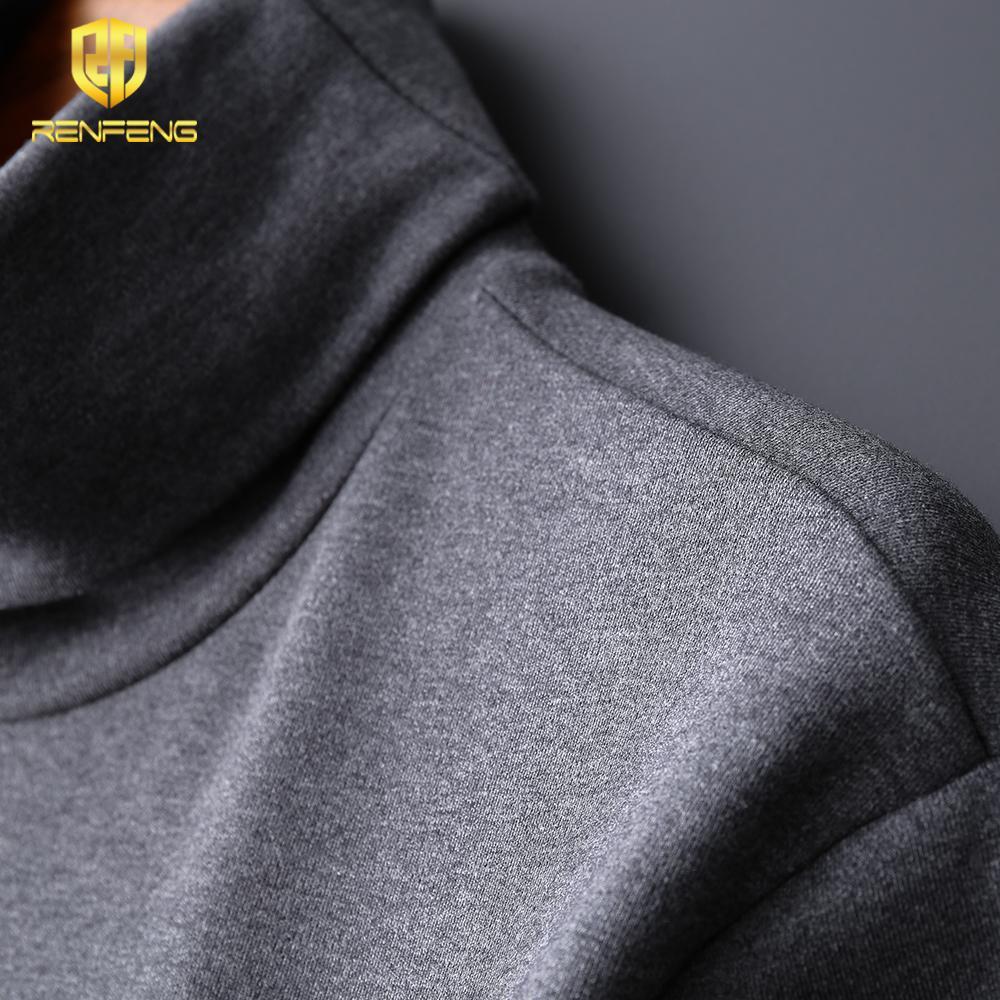 Shirt pulôver Jumper Camisetas masculinas gola Slim Fit Tops manga longa de algodão T-shirt Undershirts Mens térmica do Agasalho