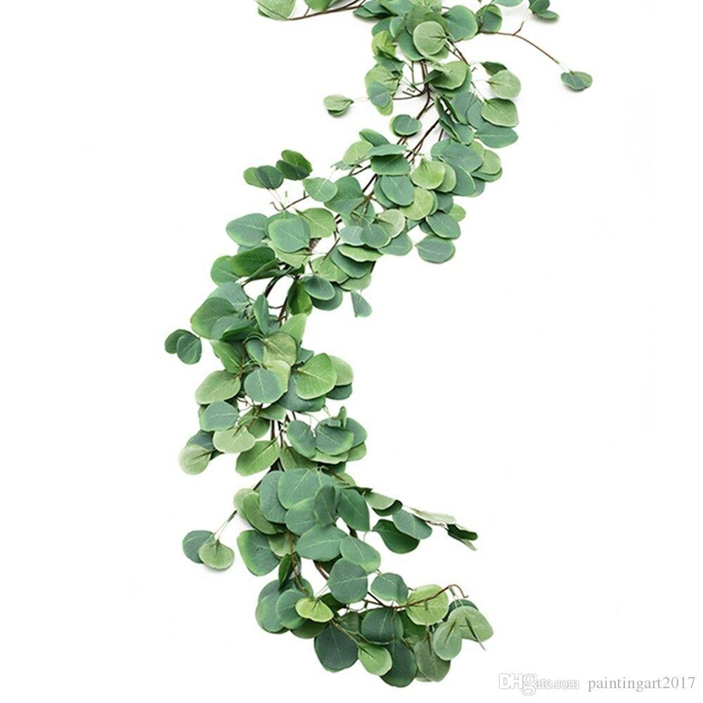 Garland Artificial Vine 4pcs / lot Wall Wedding Eucalyptus hojas corona decoración vegetal para el hogar Eucalyptus Silk Aprww