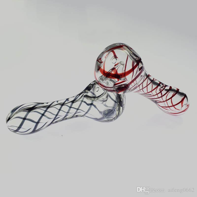 """Cuillère de 4 """"Tuyau de cuillère Simple Design Stripe Croix avec des billes Clairement pour usage de tabagisme"""