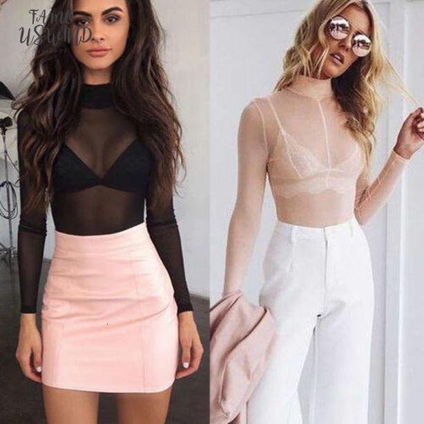 2020 여성 메쉬 긴 소매 셔츠 솔리드 기본 터틀 넥 T 셔츠 Camisas 드 Mujer 탑