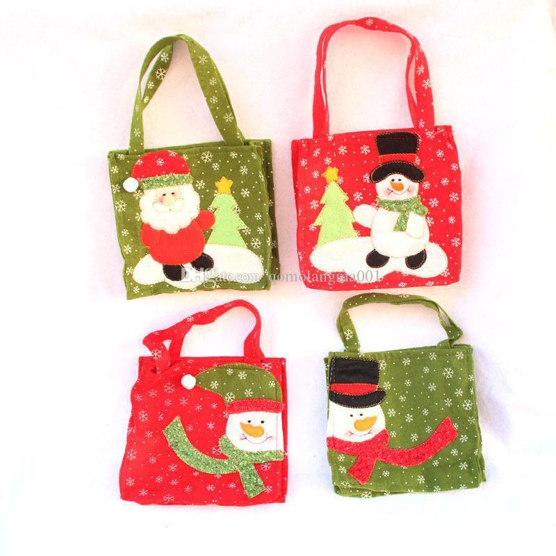 Cartoon Christmas Bag Hand Bags Santa Snowman Treat Bags Candy Gift Bag Christmas Decorations Home Decor Drop Ship