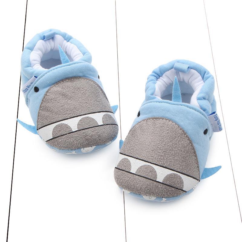 Padrão outono dos desenhos animados New Style Cotton Knit Fabric baleia dos desenhos animados Não comprar sapatos da criança Sapatas de bebê