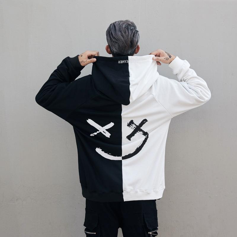 Heißer 2018 Männer Kleidung Schwarz und Weiß Nähte Hoodies Sweatshirts Lächeln Druck Headwear Hoodie Hip Hop Streetwear Mantel NH10