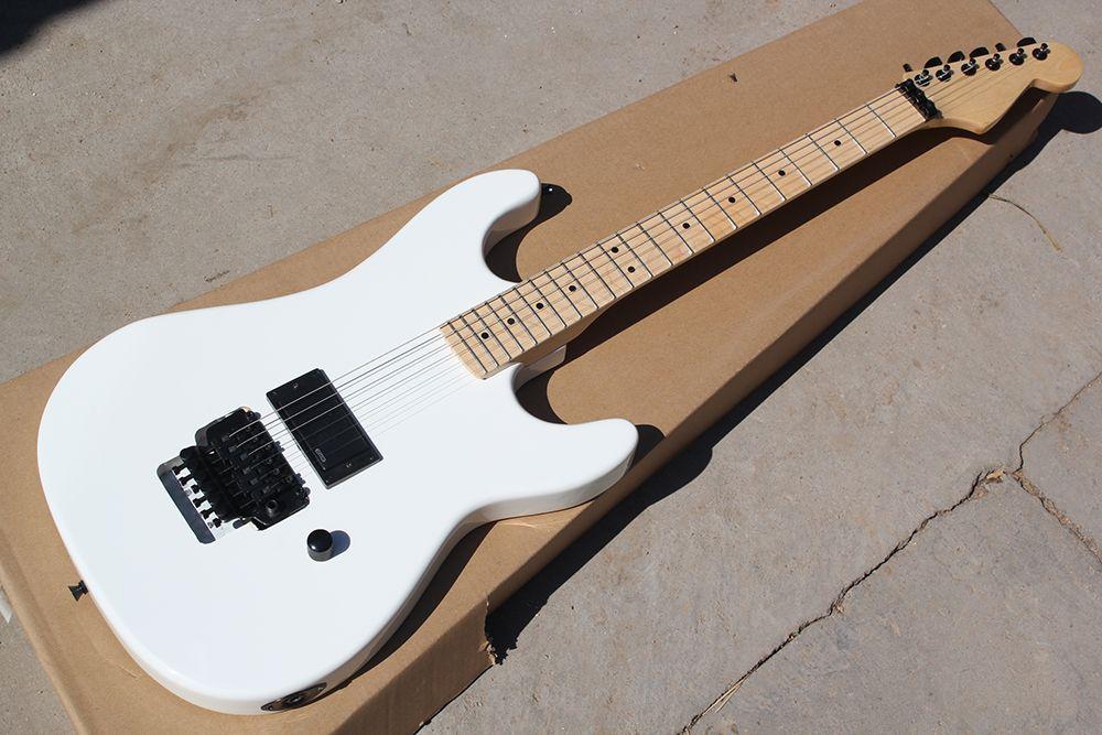 Fabrik-kundenspezifische weiße elektrische Gitarre mit Floyd Rose Brücke, Ahorn Griffbrett, schwarzer Hardware, kann angepasst werden