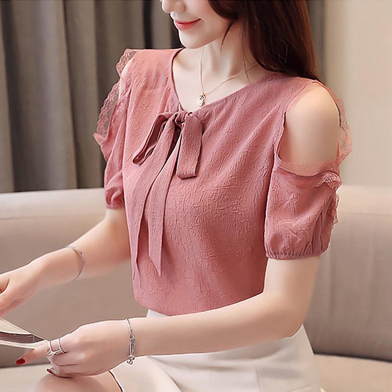 Schulterfrei Frauen-Frühlings-Sommer-Art-Chiffon- Blusen Shirts Dame beiläufige kurze Hülsen-Fliege Kragen Blusas Tops ZZ0710
