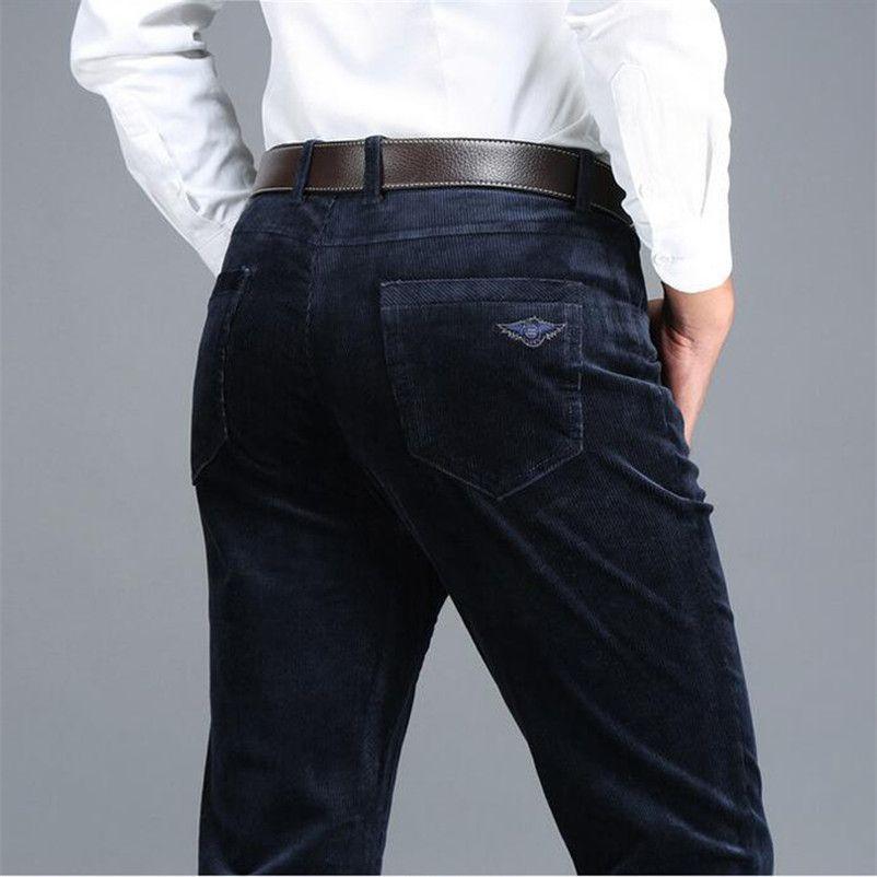 Icpans Büyük Boy 40 42 Rahat Pantolon Erkekler Kadife Kış 2018 Siyah Lacivert Pamuk Sıcak Düz Streç Erkek Kalın Pantolon