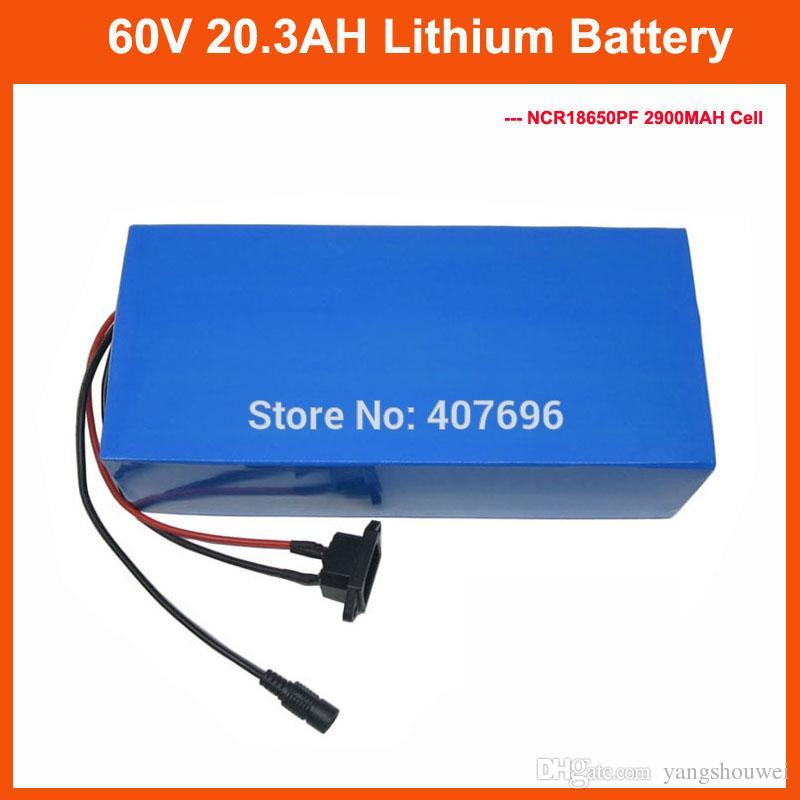 Frais de douane gratuit 3000W 60Volt Batterie au lithium 60V 20AH 20.3AH utilisation de la batterie NCR18650PF 2900mah avec chargeur 50A BMS 67.2V 2A