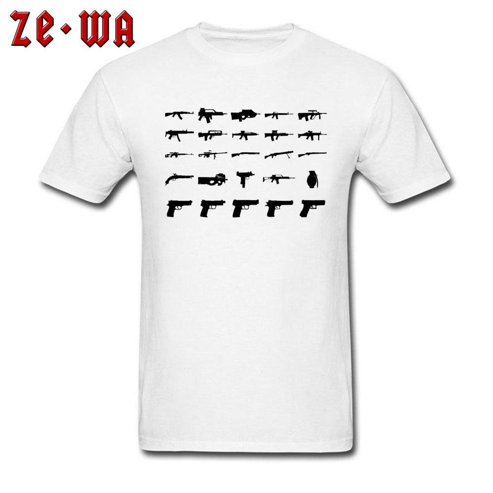군사 T - 셔츠 남성 총 프린트 티셔츠 육군 스타일 의류 성인 블랙 화이트 Tshirt 간단한 코튼 탑스 선물 티 무료 배송