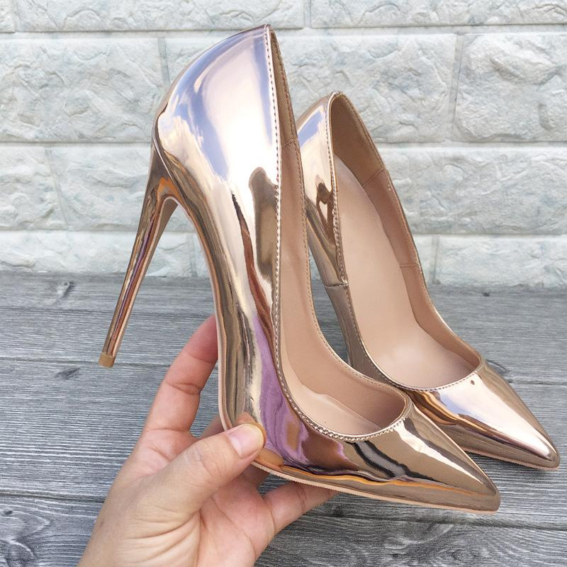 fashion women pumps Casual Designer rose gold patent leather shiny point toe high heels shoes party