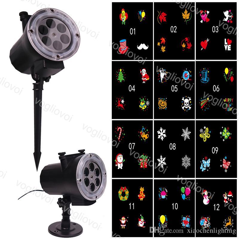 LED Efektler 12 W Duvar Dekorasyon Kar Lambası RGB Değiştirilebilir 12 Desen Kart Değişimi Noel için Cadılar Bayramı Brightday Parti Sahne Aydınlatma DHL